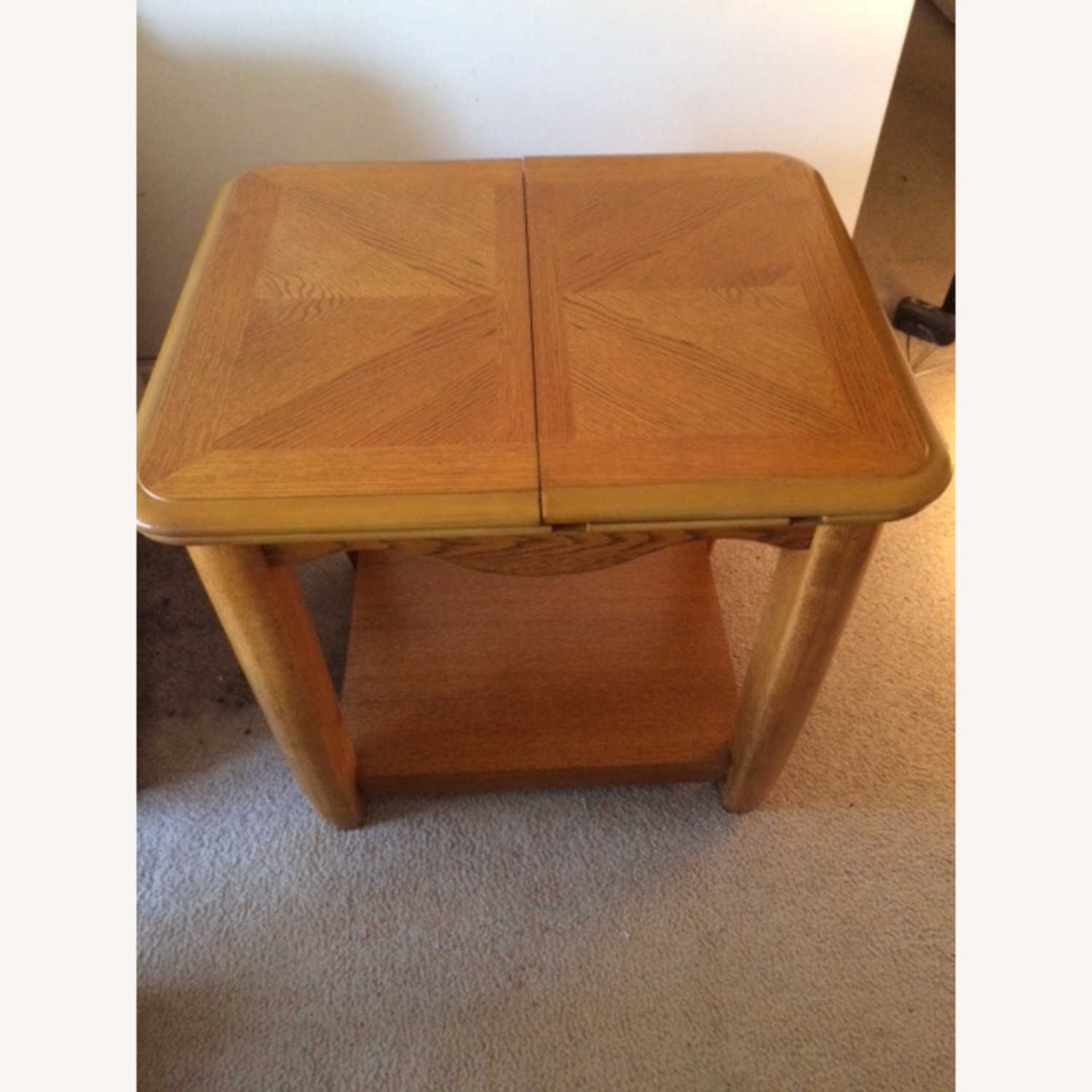 Oak End Table/Side Table with Sliding Panel - image-1