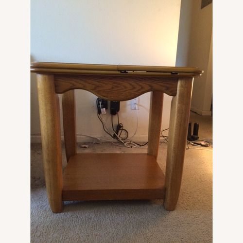 Used Oak End Table/Side Table with Sliding Panel for sale on AptDeco