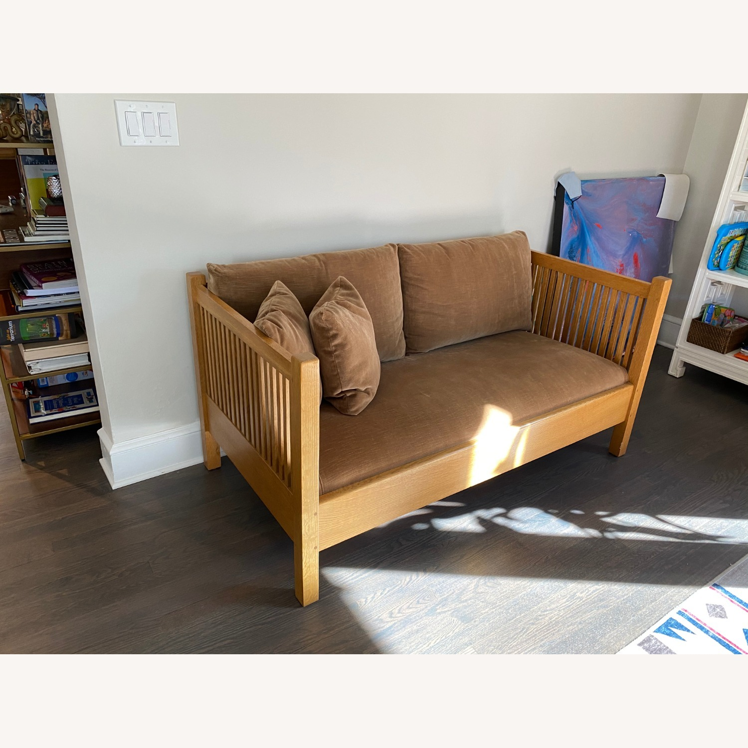 Stickley Sofa-Mission Style Oak Spindle Collection - image-5