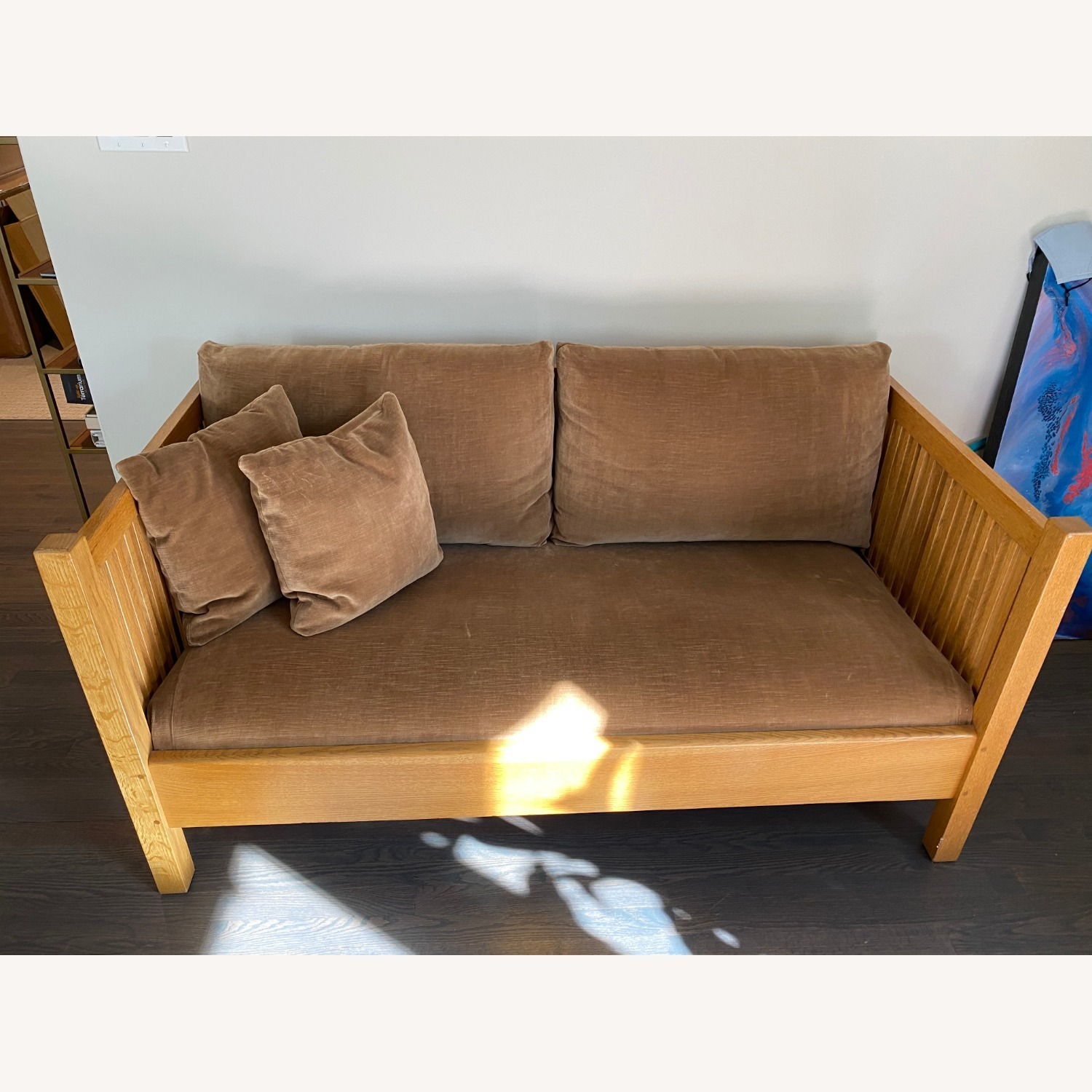 Stickley Sofa-Mission Style Oak Spindle Collection - image-1