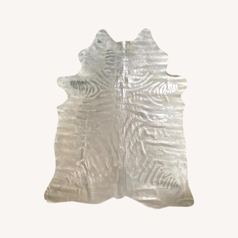 Zebra Silver Leather Rug - image-0