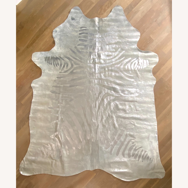 Zebra Silver Leather Rug - image-1