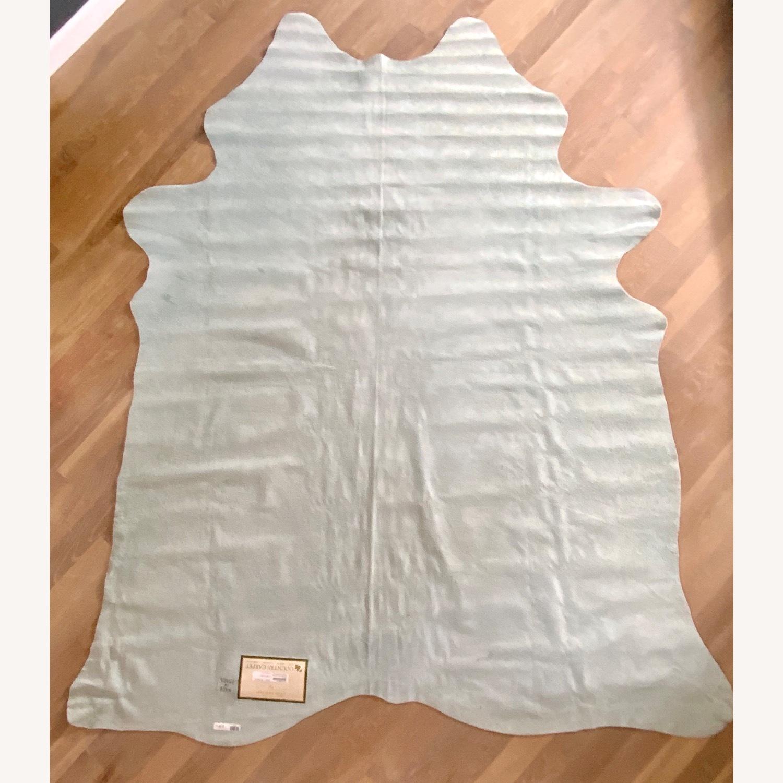 Zebra Silver Leather Rug - image-4