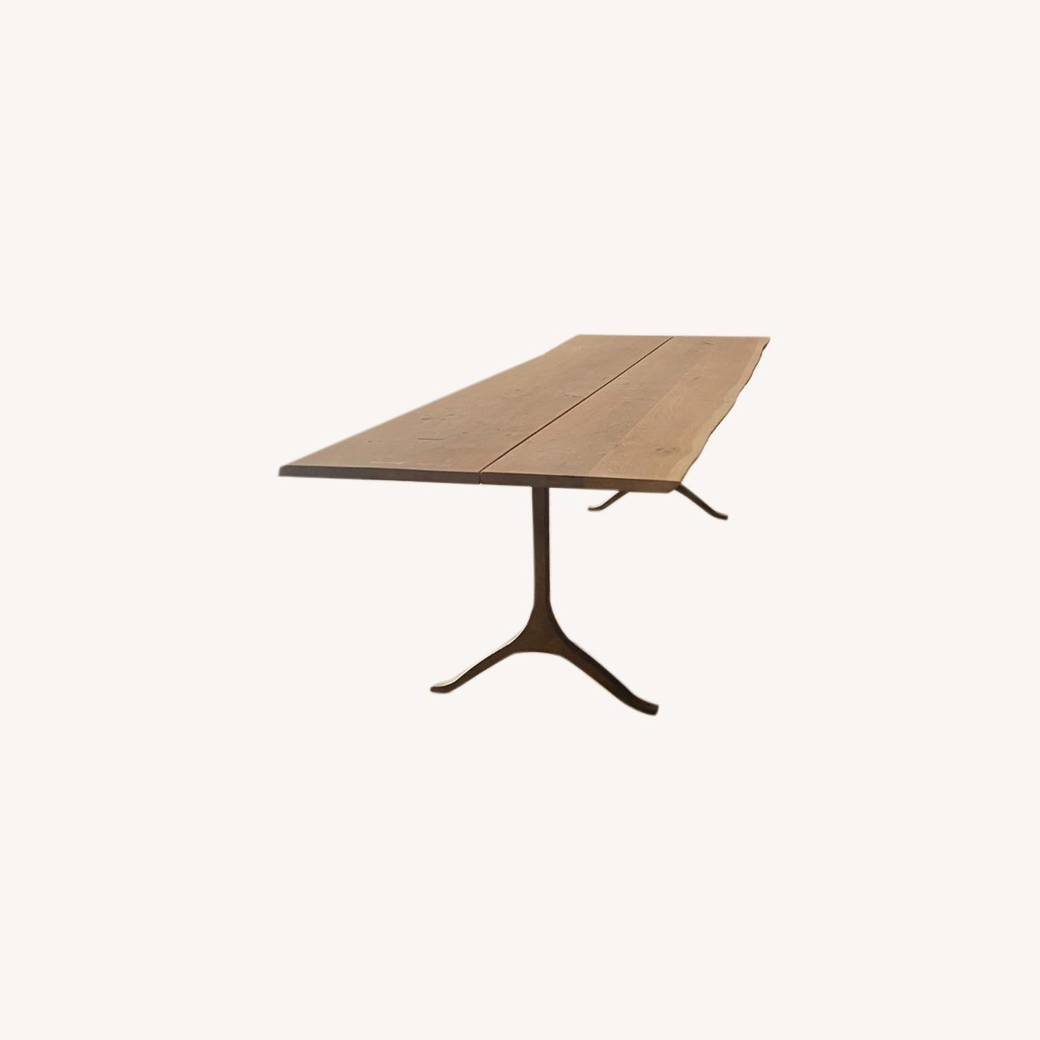 Anthropologie Oak and Brass Live Edge Dining Table - image-0