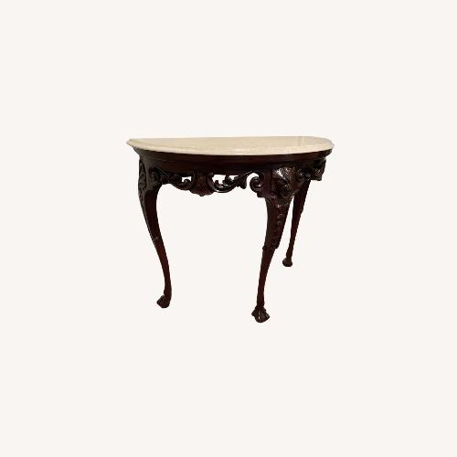 Used Baker Williamsburg Marble and Mahogany Side Table for sale on AptDeco