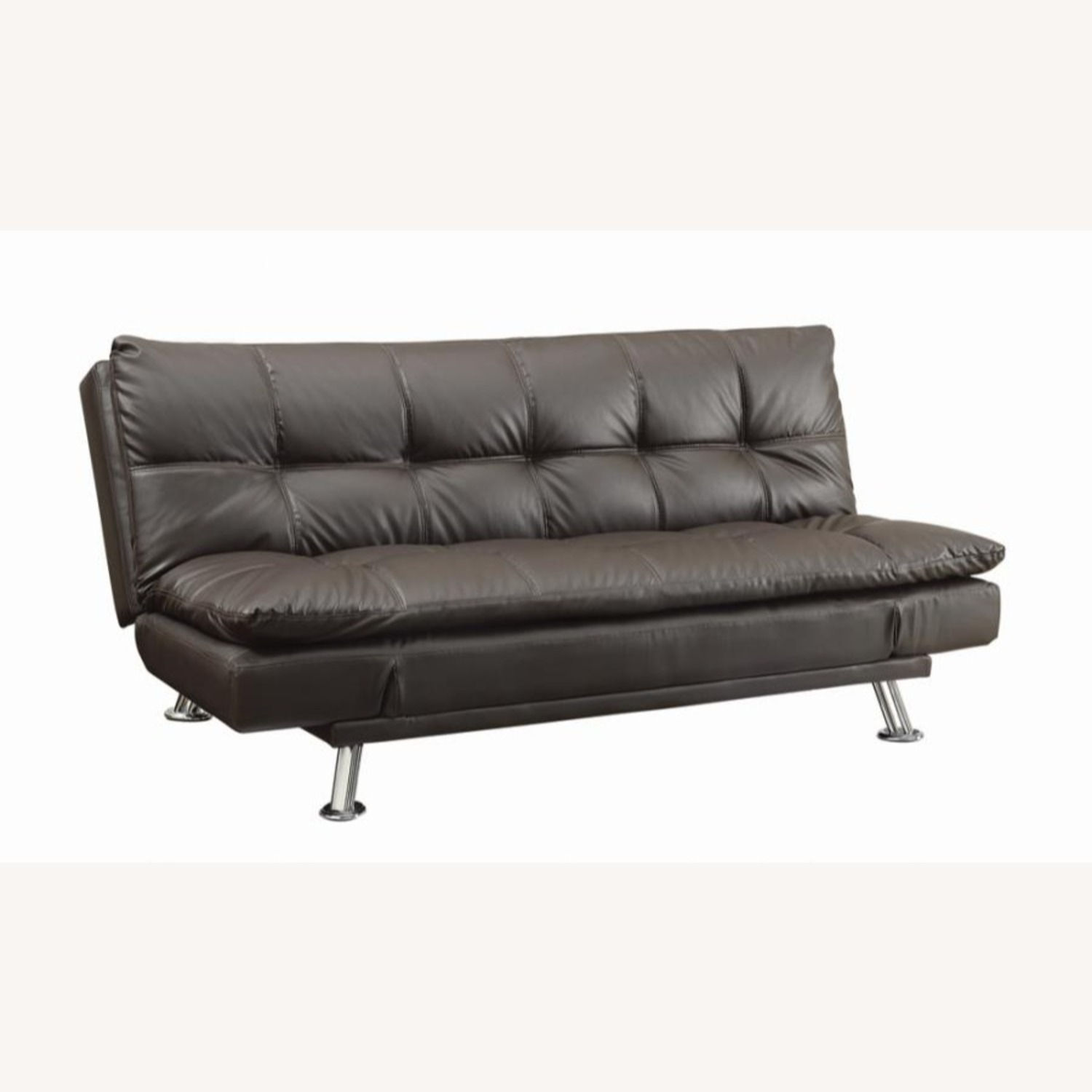 Sofa Bed In Brown Leatherette W/ Chrome Legs - image-0