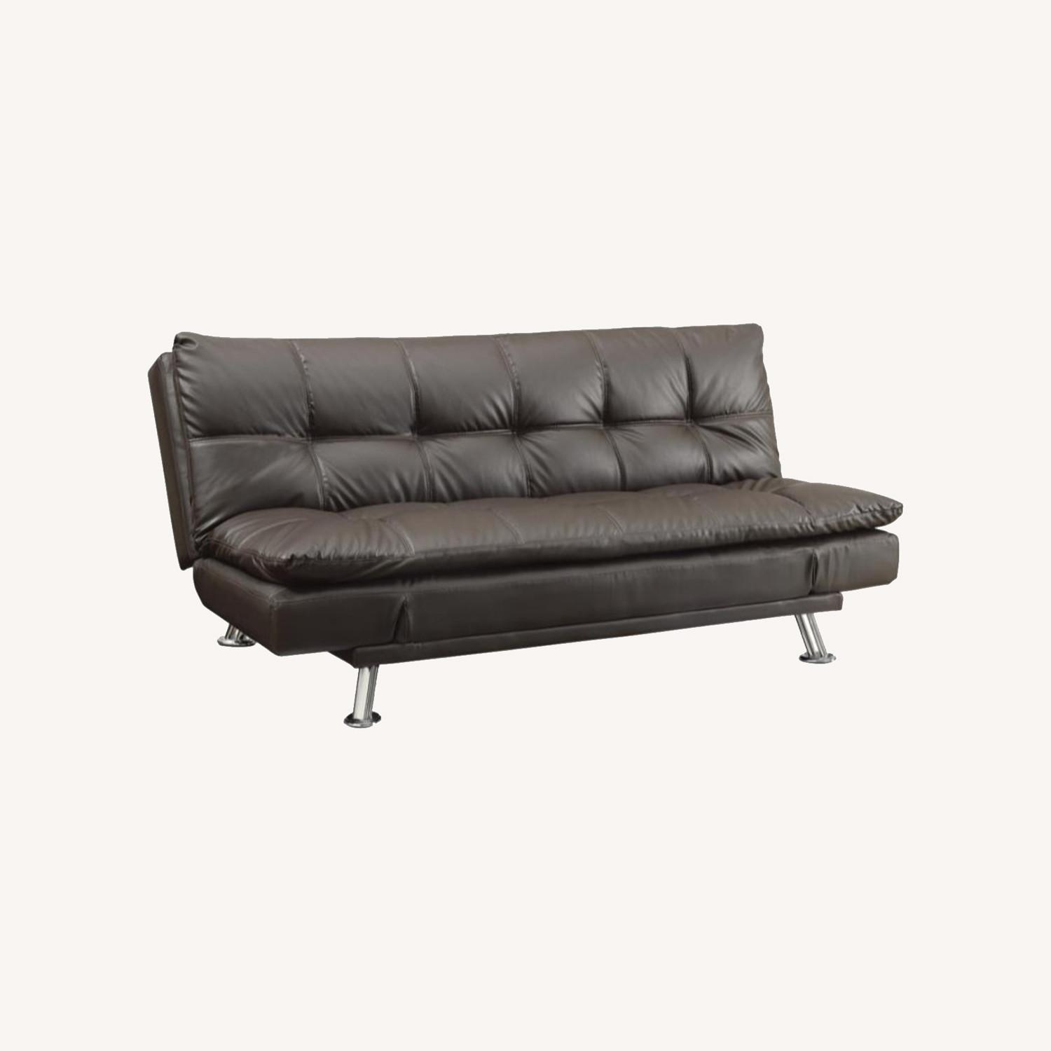Sofa Bed In Brown Leatherette W/ Chrome Legs - image-5