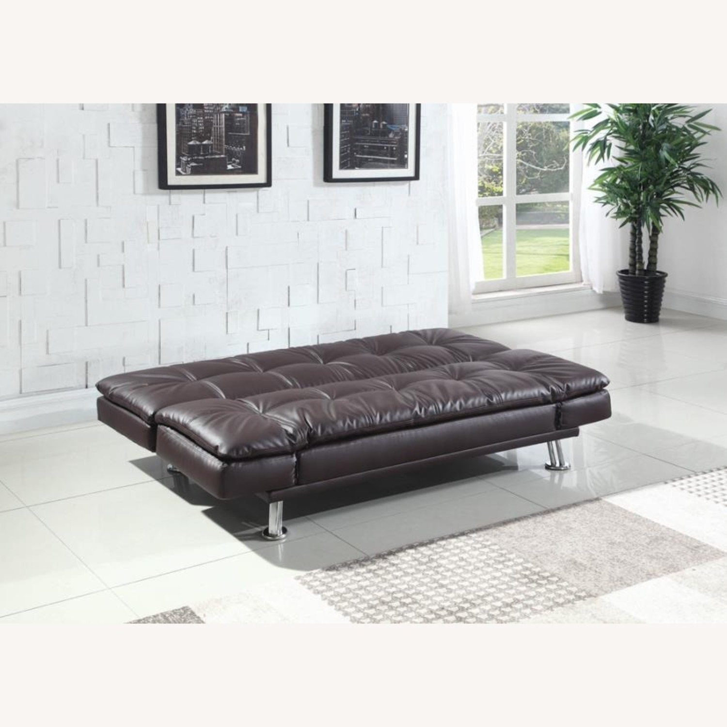 Sofa Bed In Brown Leatherette W/ Chrome Legs - image-2