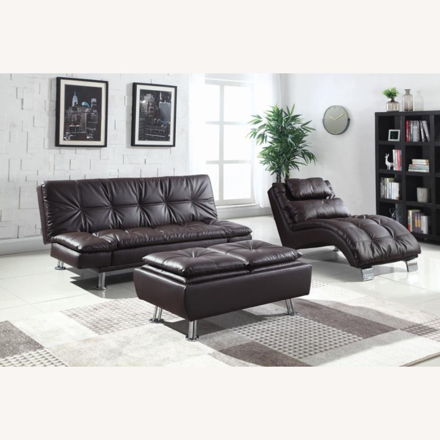 Sofa Bed In Brown Leatherette W/ Chrome Legs - image-3