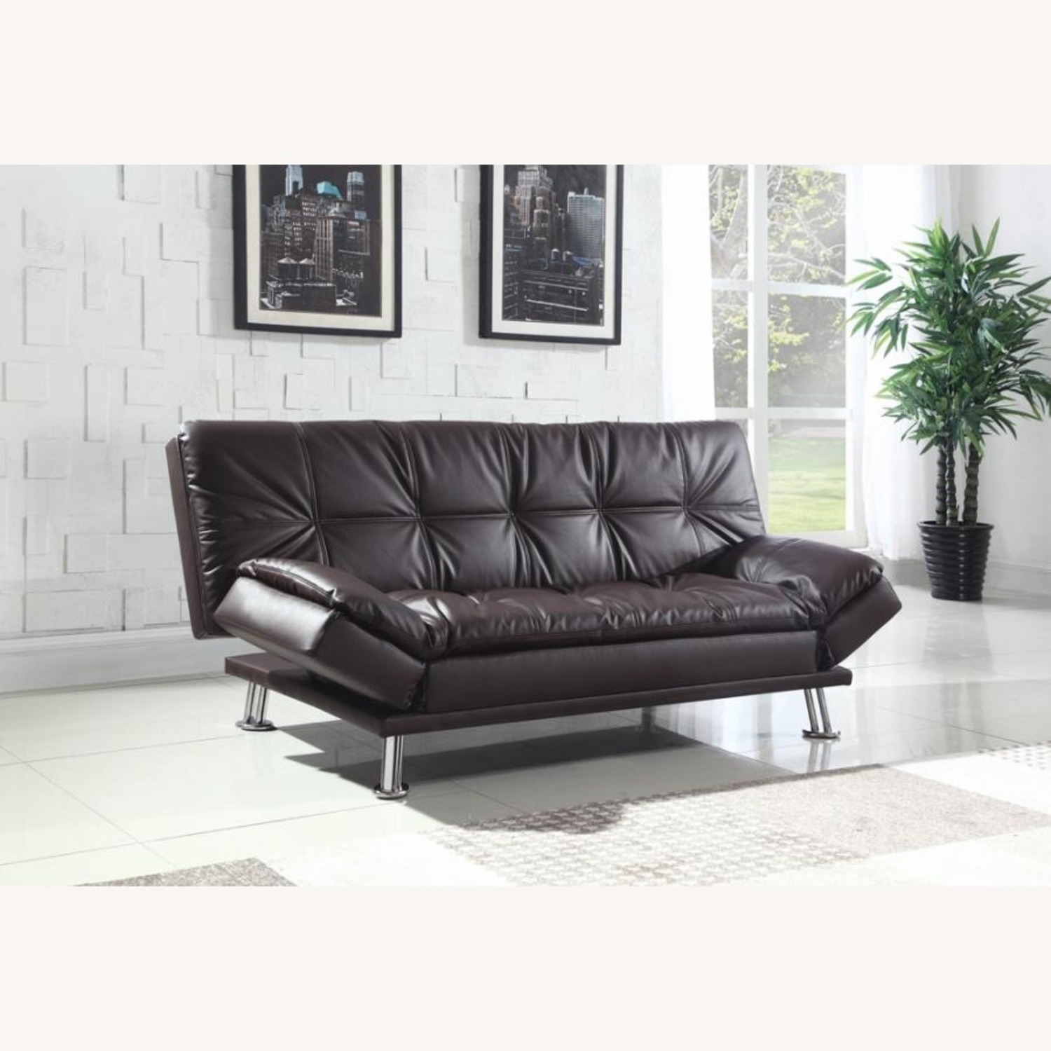 Sofa Bed In Brown Leatherette W/ Chrome Legs - image-1