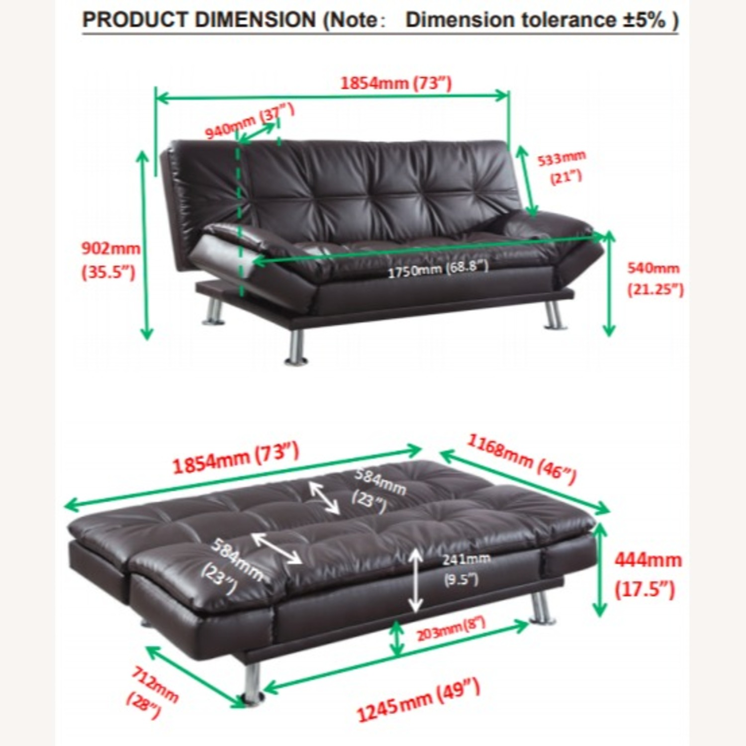 Sofa Bed In Brown Leatherette W/ Chrome Legs - image-4