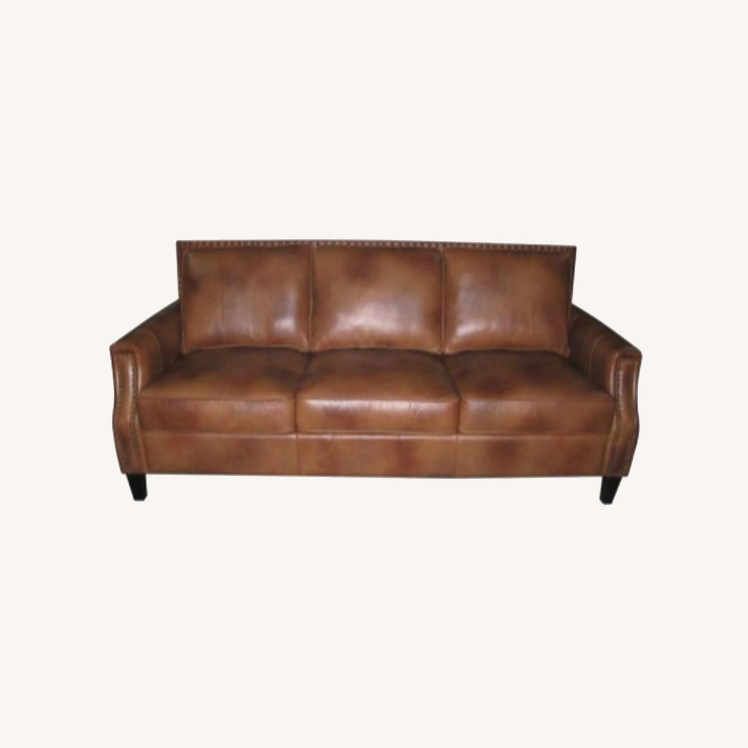 Sofa In Brown Sugar Leather Upholstery - image-3