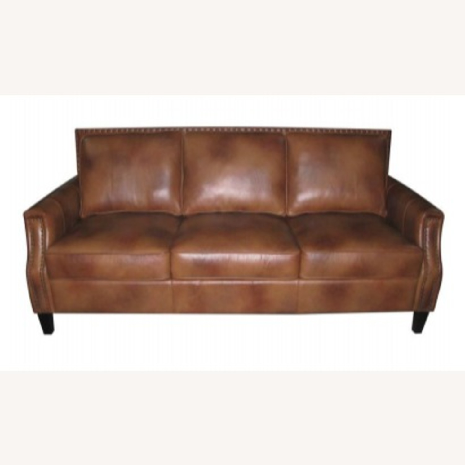 Sofa In Brown Sugar Leather Upholstery - image-0