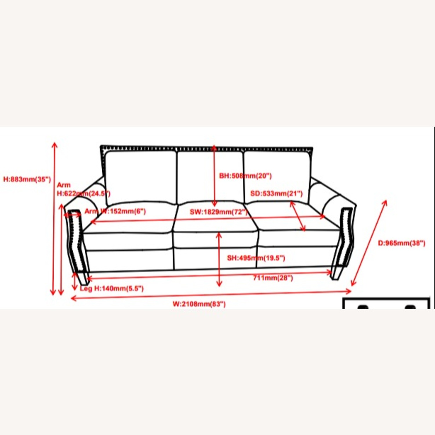 Sofa In Brown Sugar Leather Upholstery - image-2