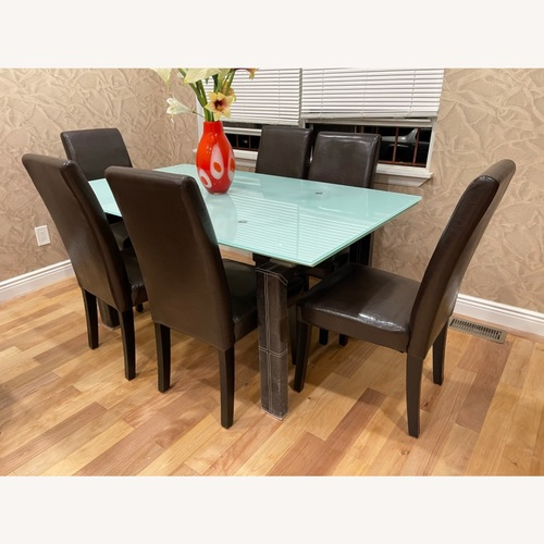 Used Esf Dining Table with 6 Coaster Chairs for sale on AptDeco