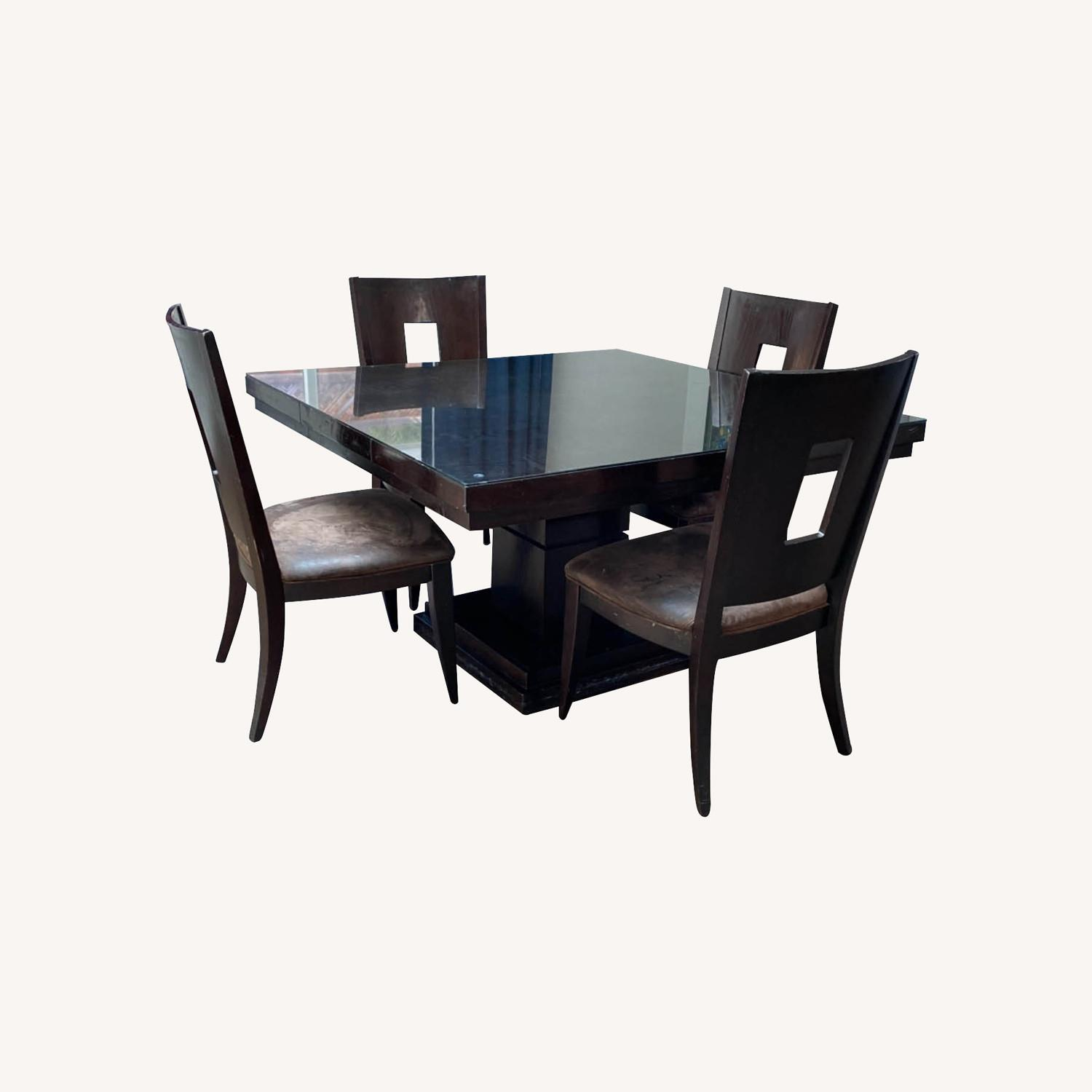 Square Pedestal Wooden Dining Table with 4 Chairs - image-0