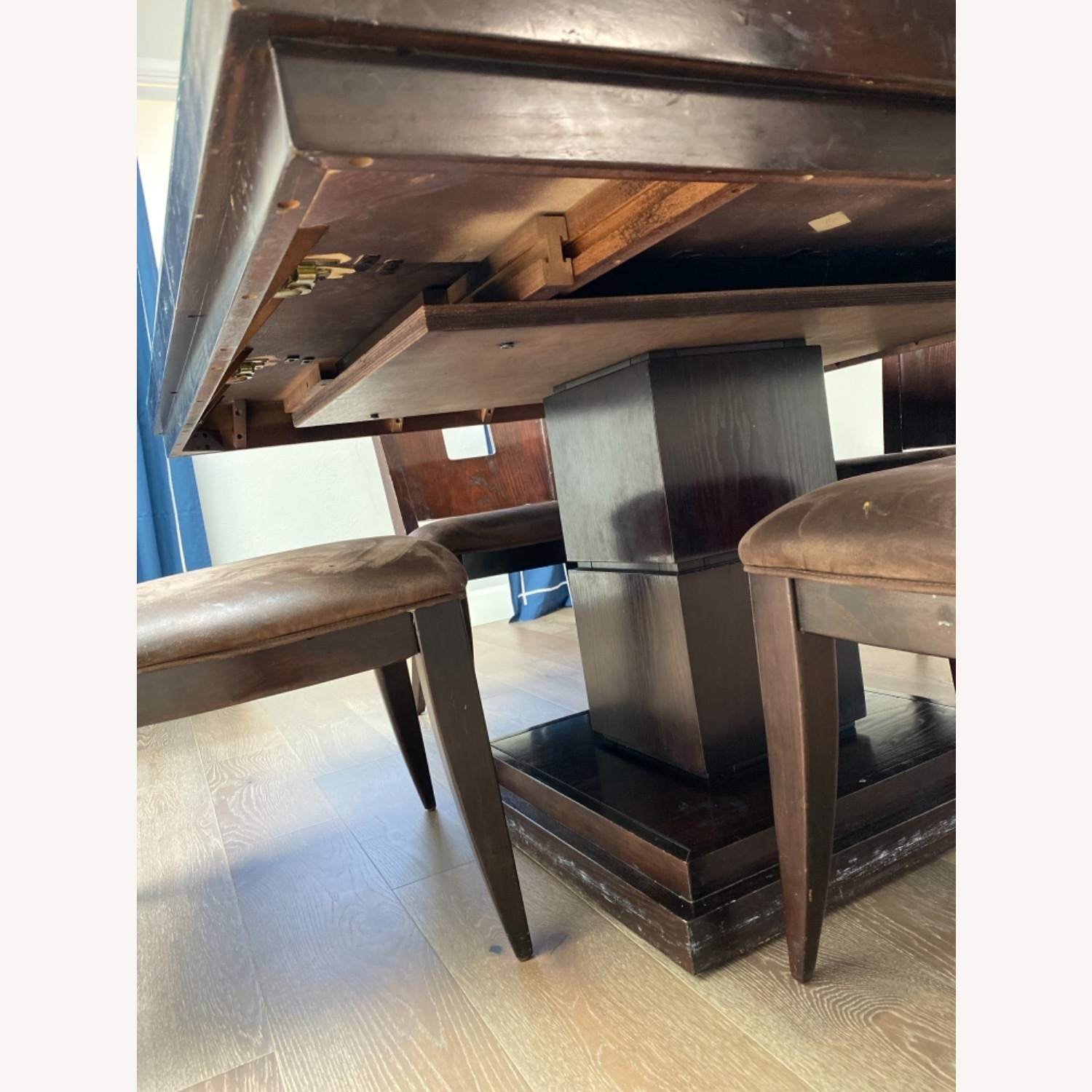 Square Pedestal Wooden Dining Table with 4 Chairs - image-3