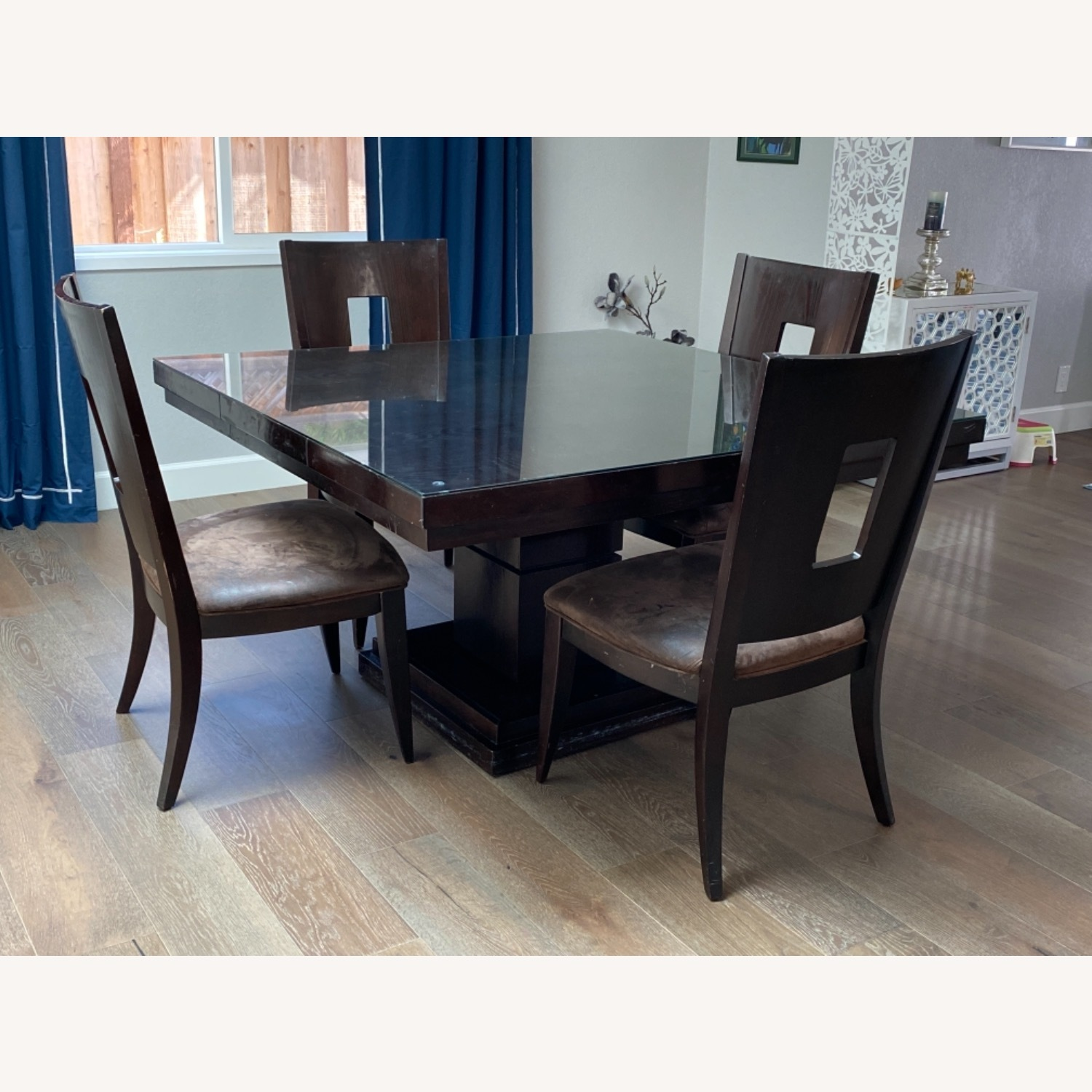 Square Pedestal Wooden Dining Table with 4 Chairs - image-2