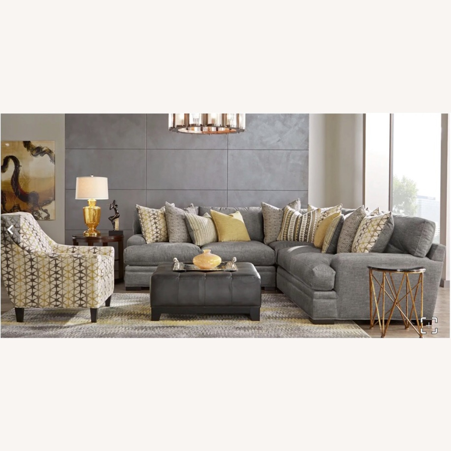Rooms To Go Gray 3 Piece Sectional Cindy Crawford Home - image-1