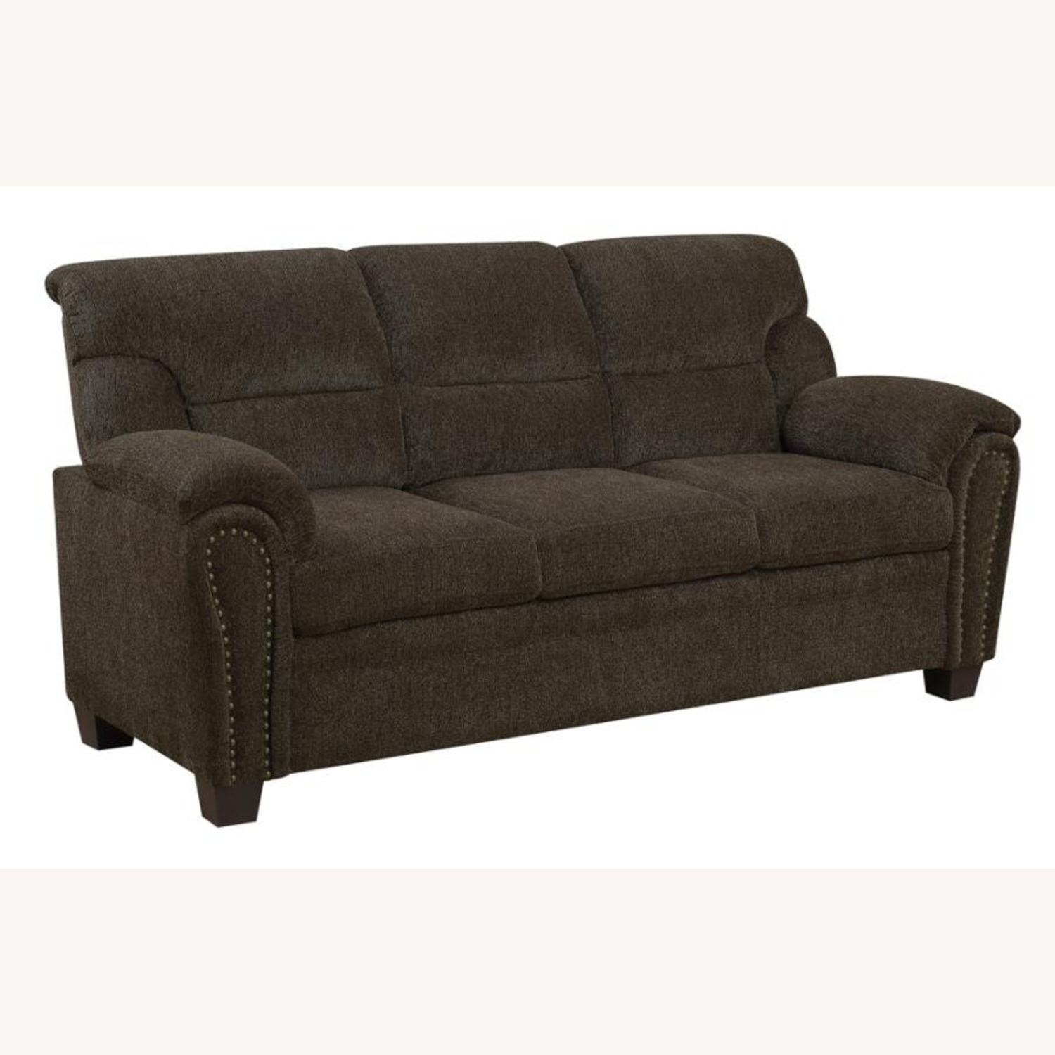 Sofa In Brown Chenille Upholstery Finish - image-1
