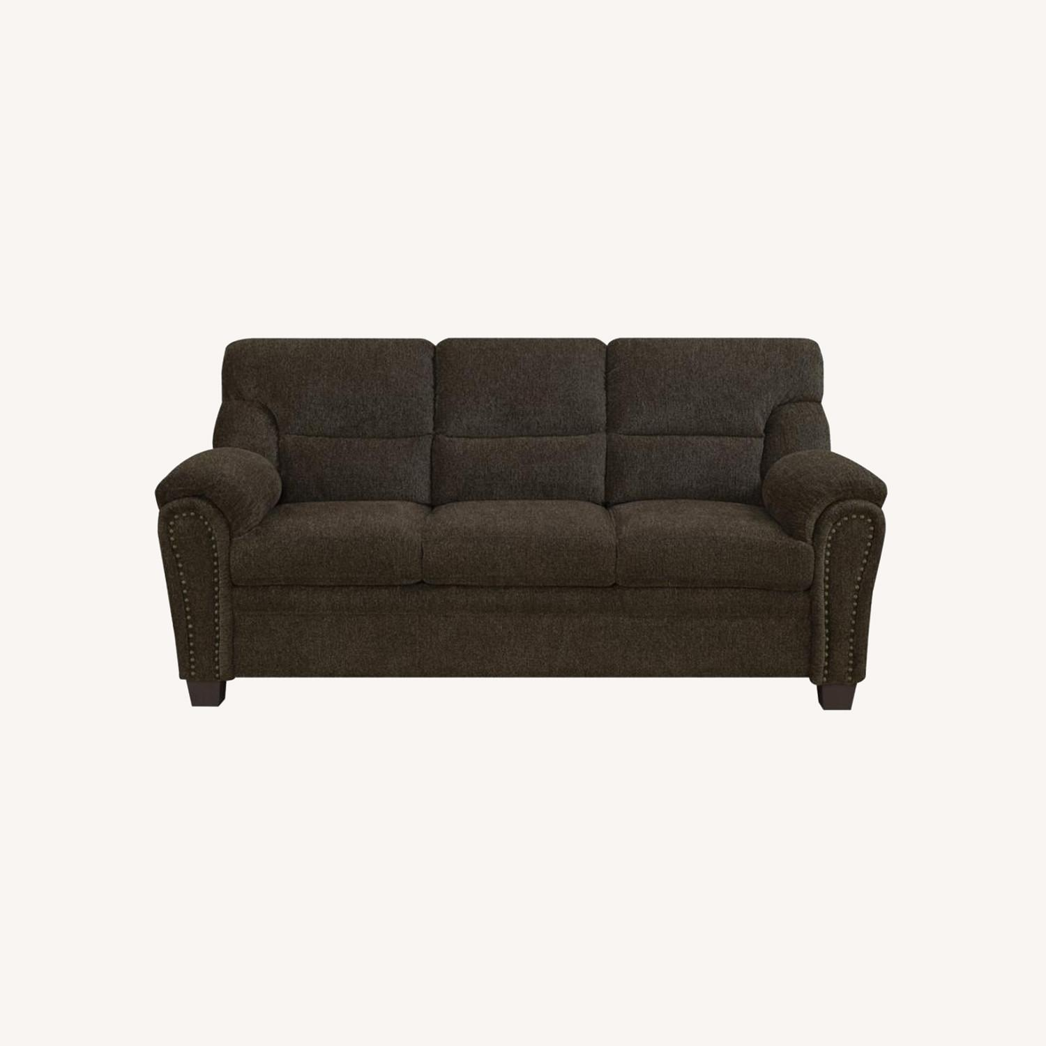 Sofa In Brown Chenille Upholstery Finish - image-7