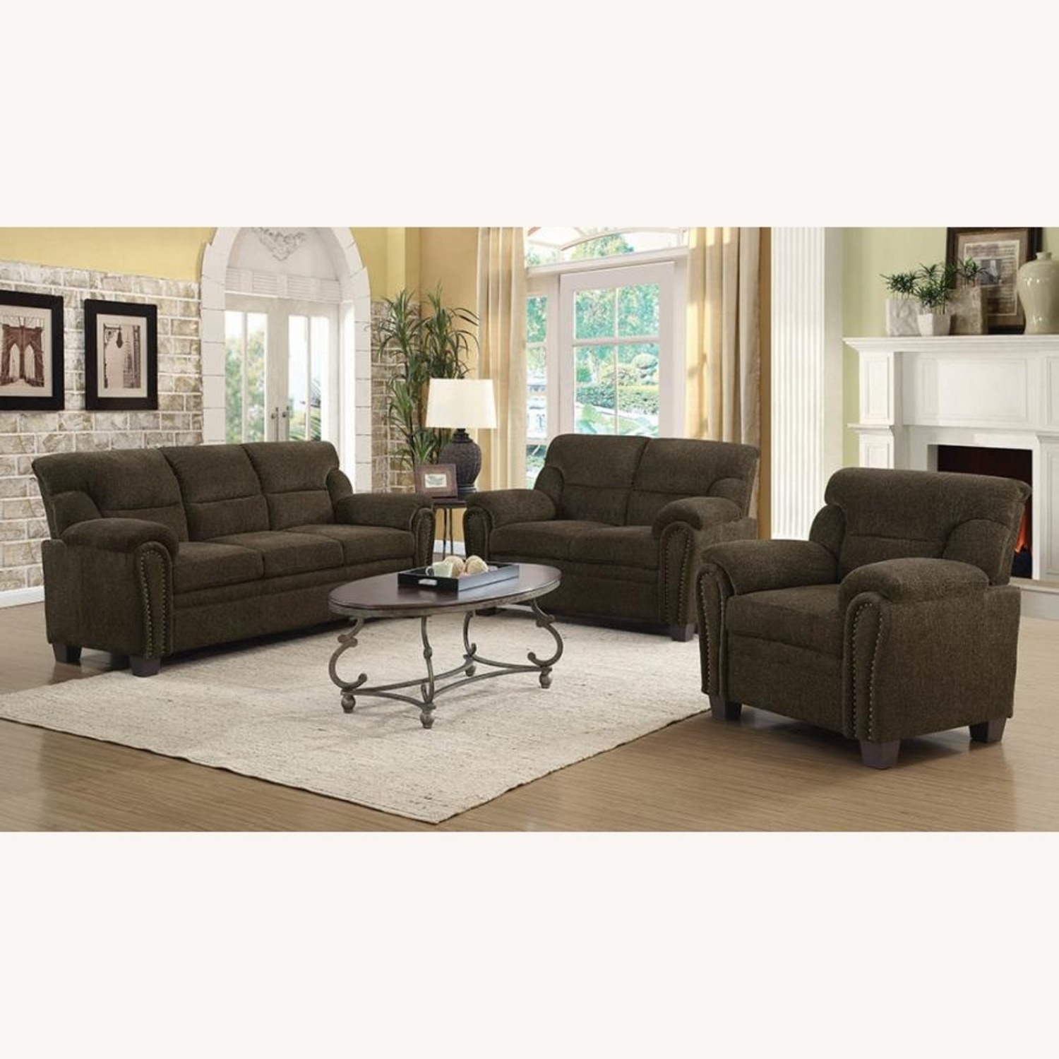 Sofa In Brown Chenille Upholstery Finish - image-6
