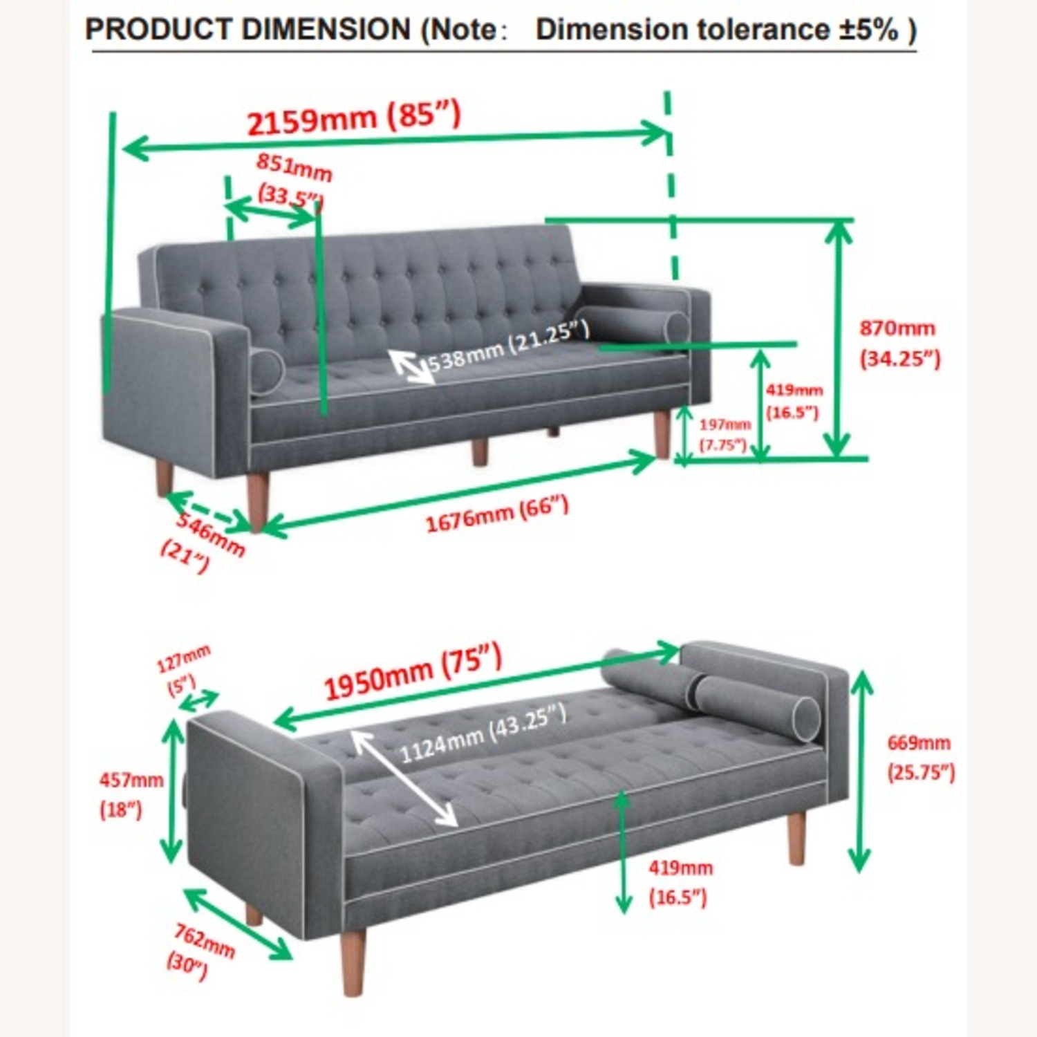 Sofa Bed In Grey Fabric W/ Natural Wood Legs - image-6