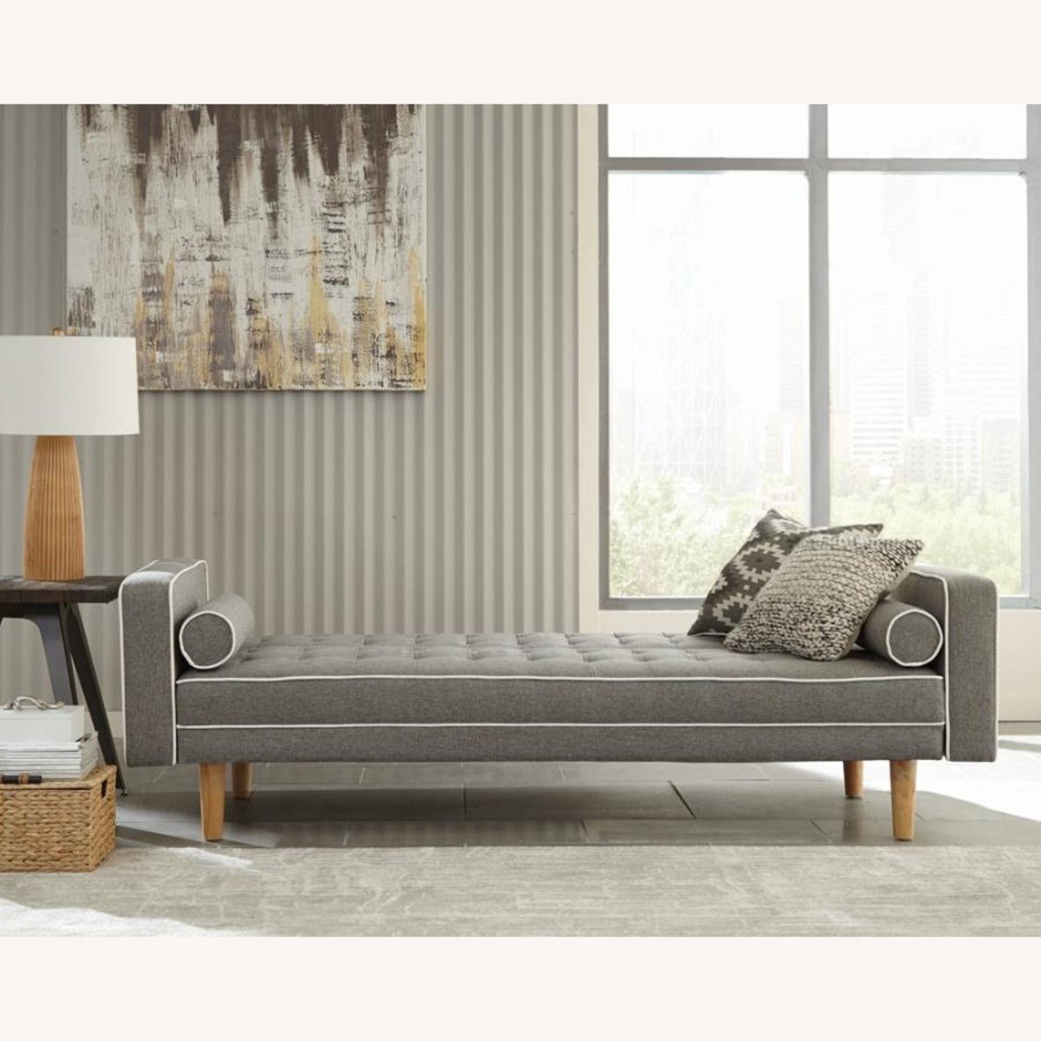 Sofa Bed In Grey Fabric W/ Natural Wood Legs - image-5