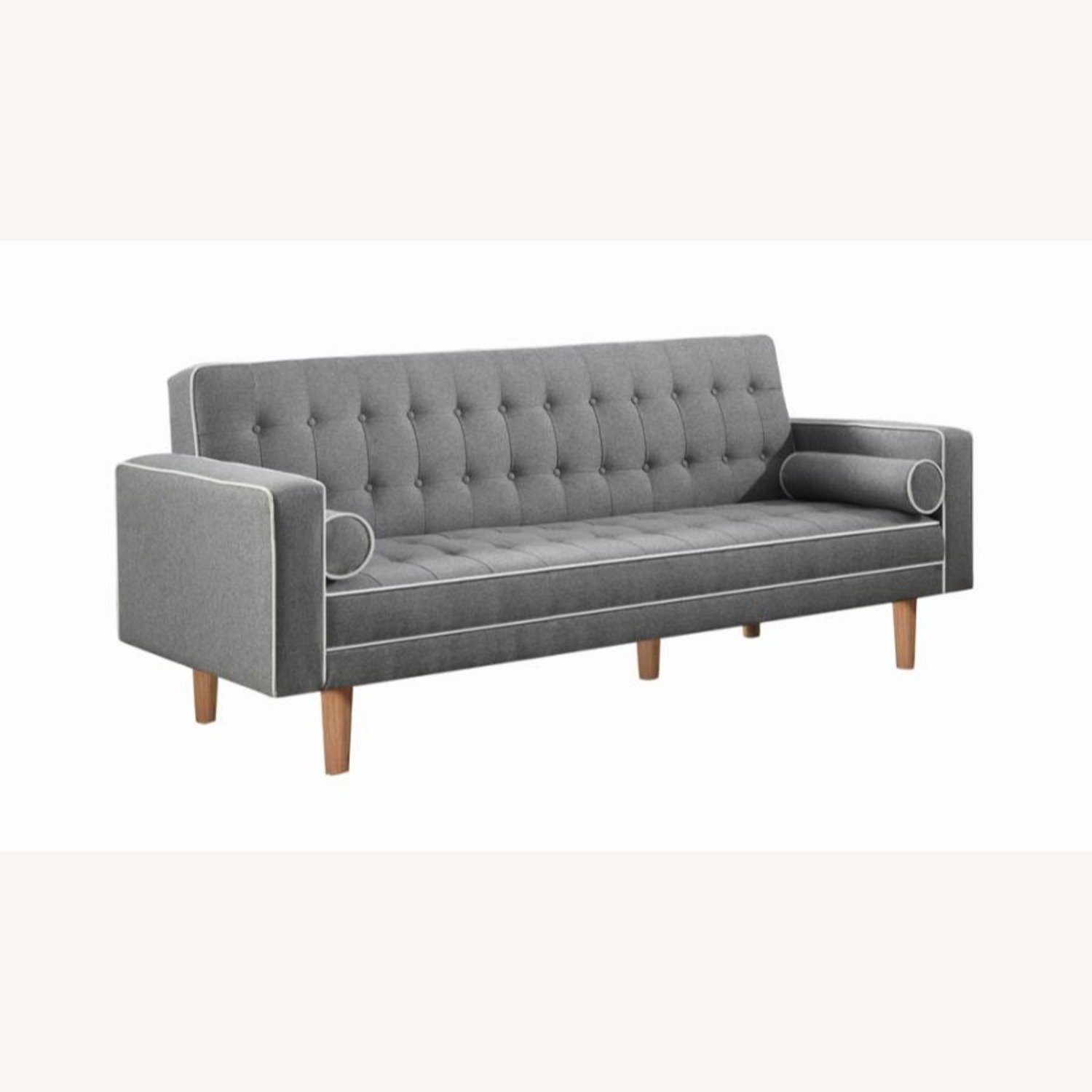 Sofa Bed In Grey Fabric W/ Natural Wood Legs - image-0