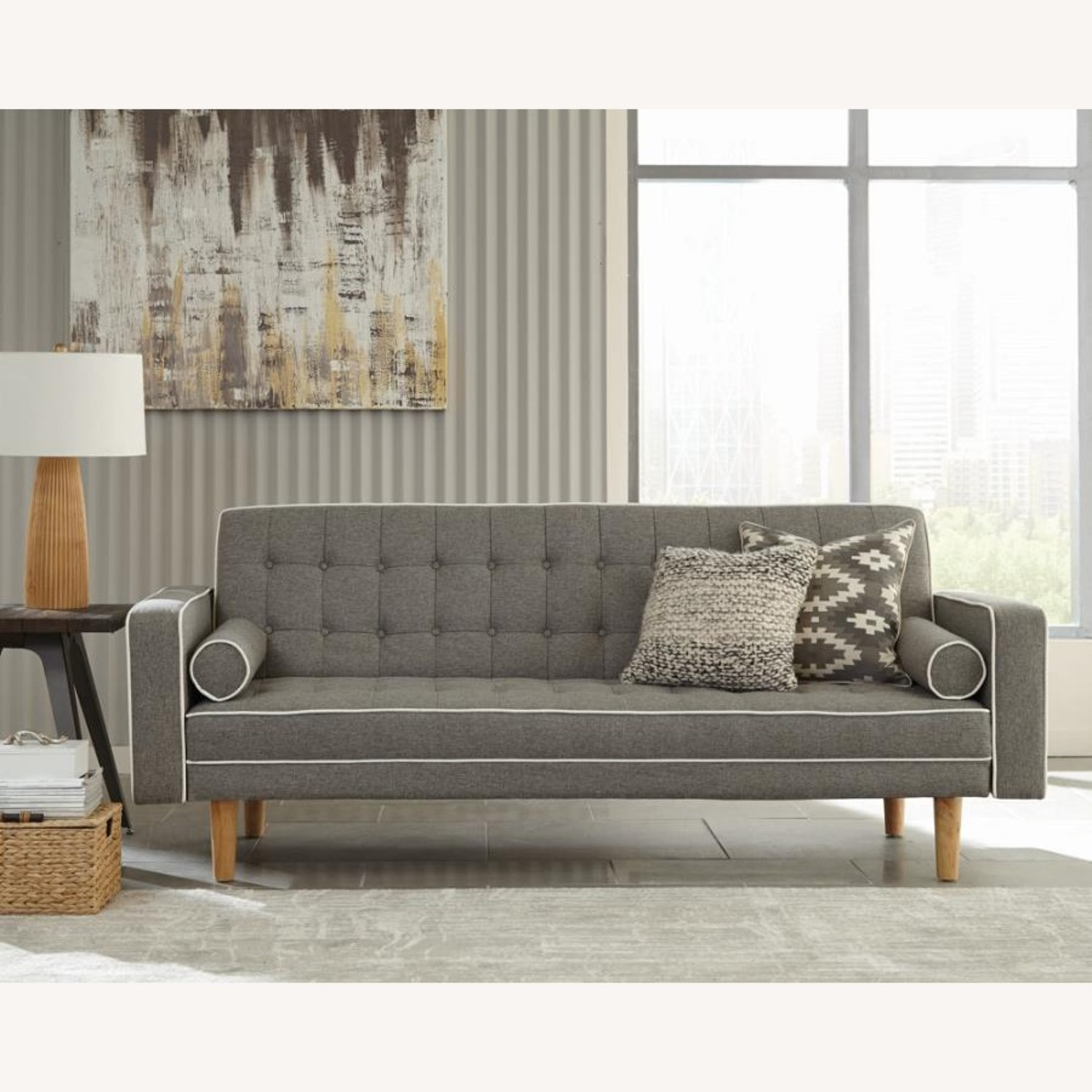 Sofa Bed In Grey Fabric W/ Natural Wood Legs - image-4