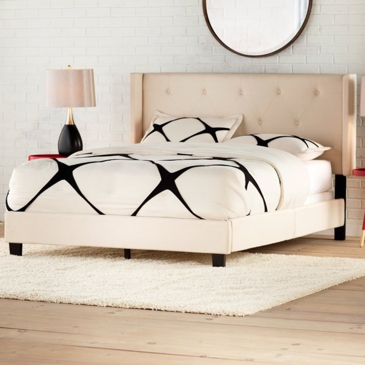 Wayfair Tufted Queen Linen Bed Frame w Attached Headboard - image-2