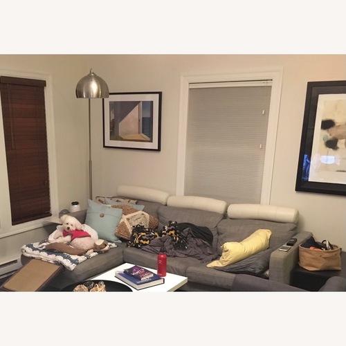 Used IKEA Karlstad Mid-Century Modern Leather Couch Headrest for sale on AptDeco