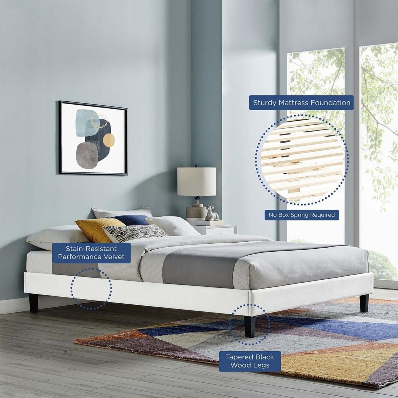 Twin Platform Bed Frame In White Velvet Finish - image-3