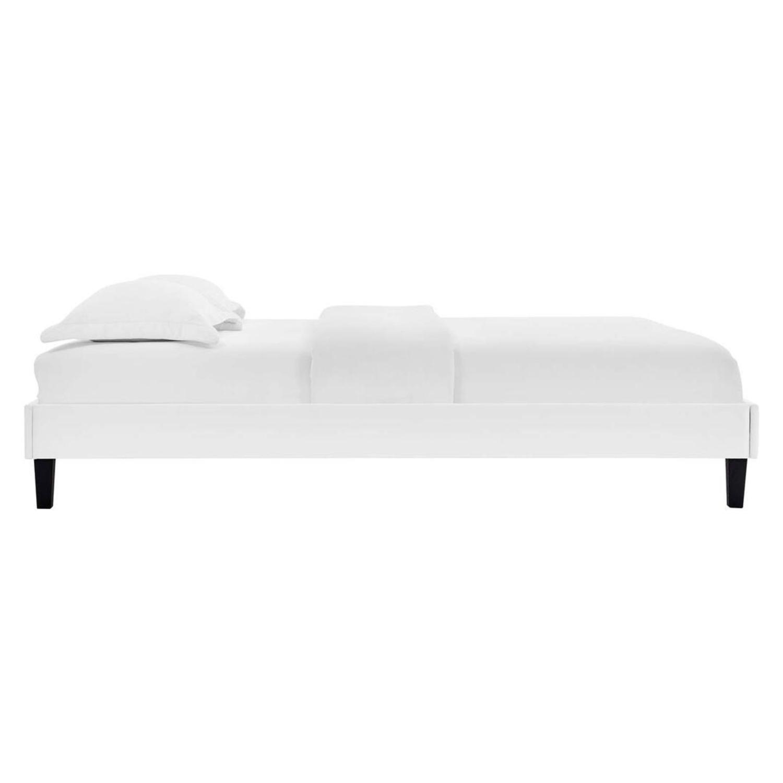 Twin Platform Bed Frame In White Velvet Finish - image-1