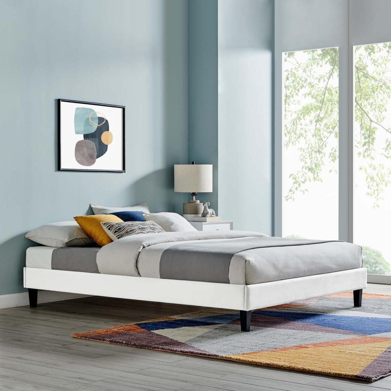 Twin Platform Bed Frame In White Velvet Finish - image-4