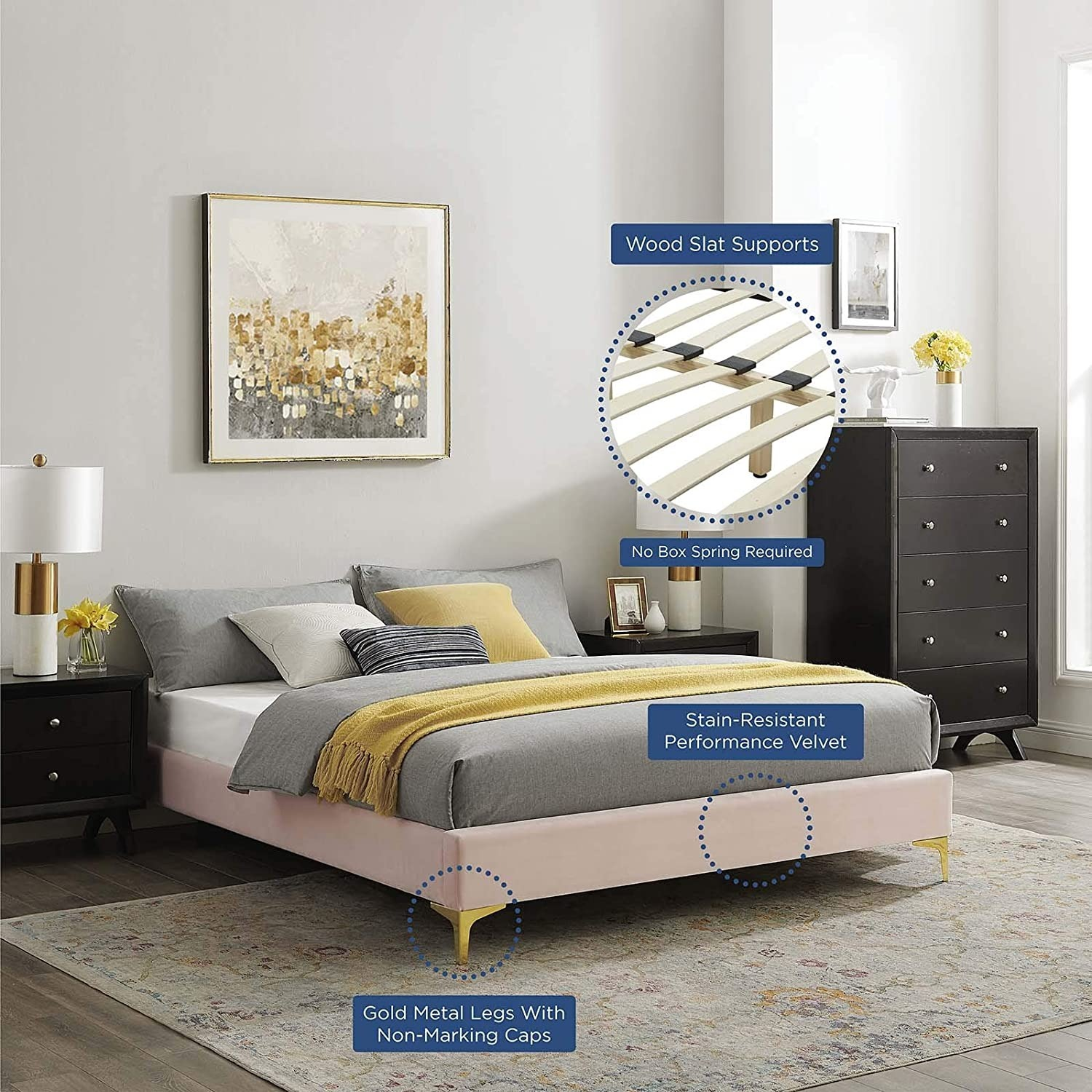 Twin Bed Frame In Pink Performance Velvet - image-5