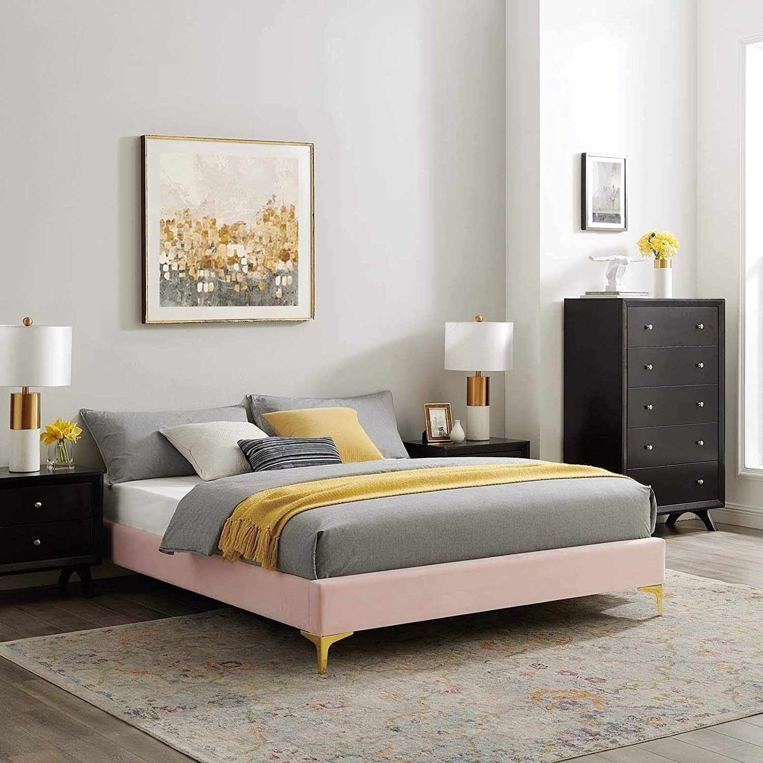 Twin Bed Frame In Pink Performance Velvet - image-6