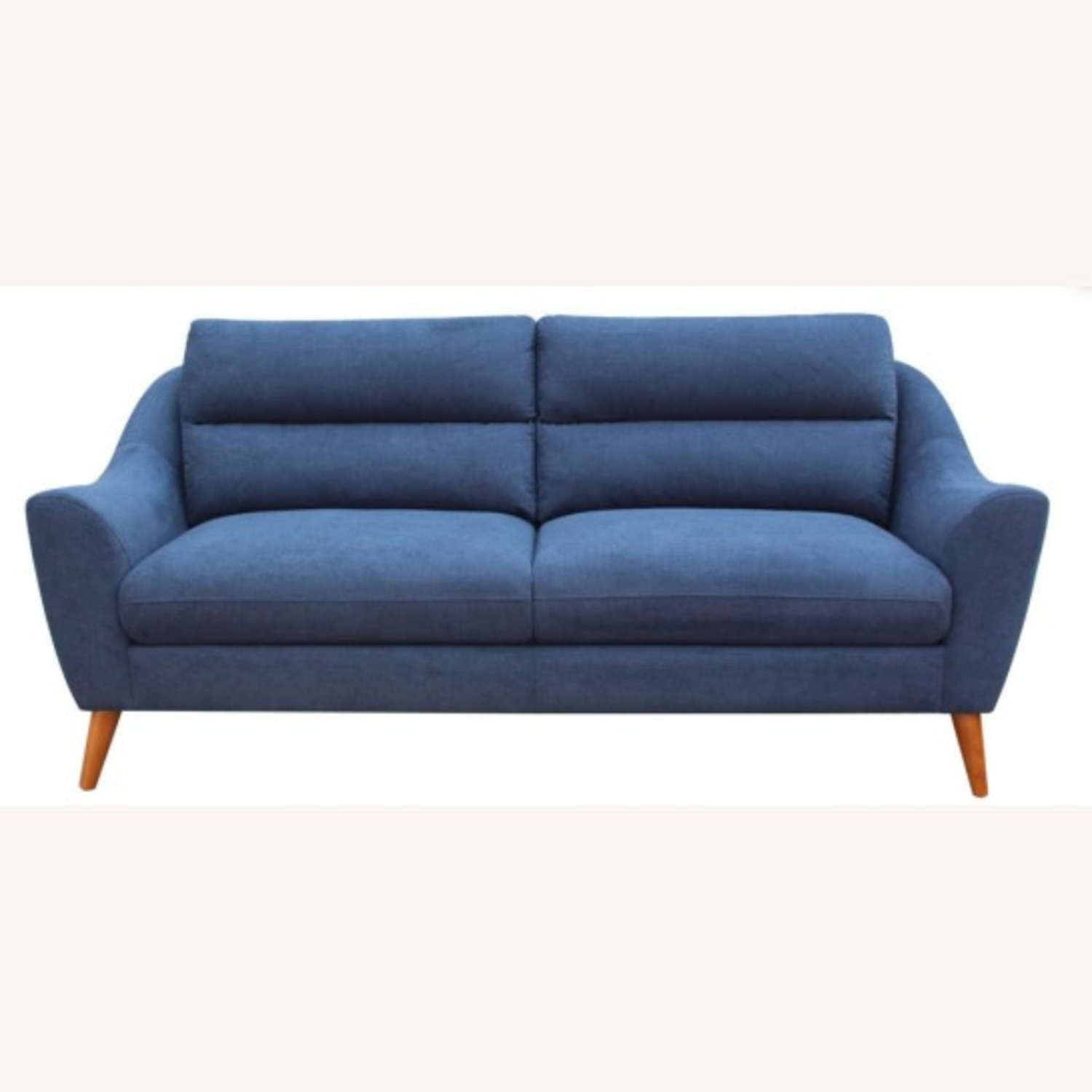 Sofa In Navy Blue Woven Fabric W/ Tapered Legs - image-0