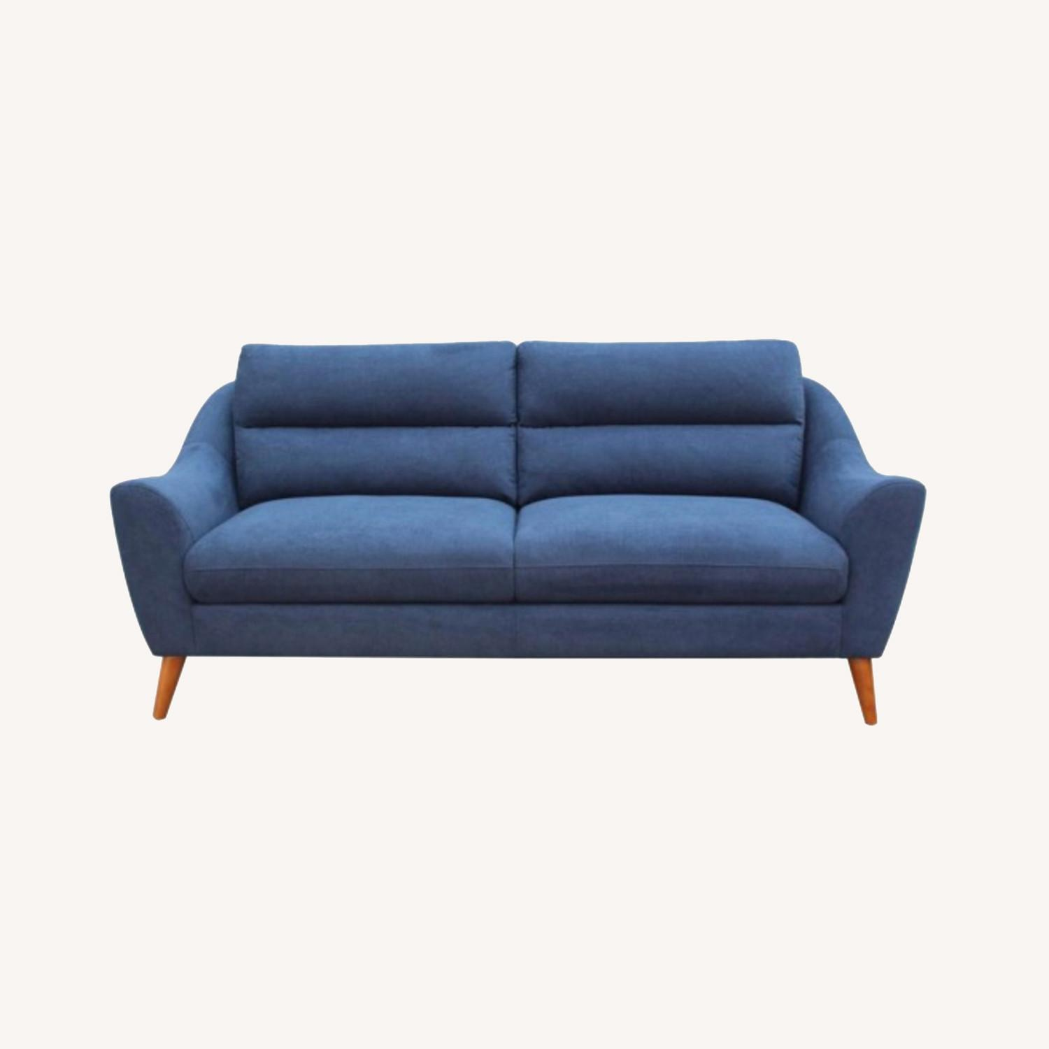 Sofa In Navy Blue Woven Fabric W/ Tapered Legs - image-3