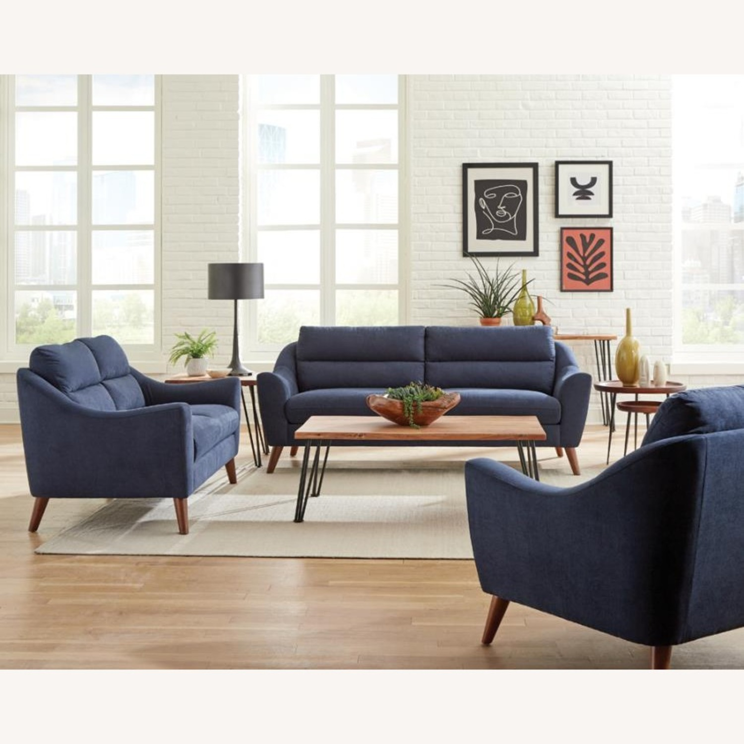 Sofa In Navy Blue Woven Fabric W/ Tapered Legs - image-1