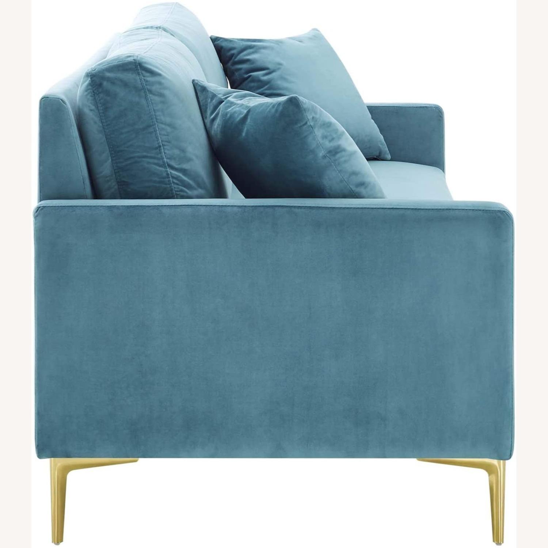 Mid-Century Style Sofa In Sea Blue Velvet Finish - image-3