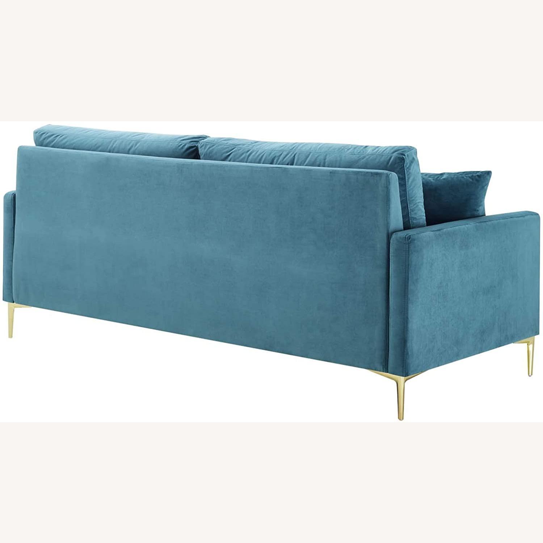 Mid-Century Style Sofa In Sea Blue Velvet Finish - image-2
