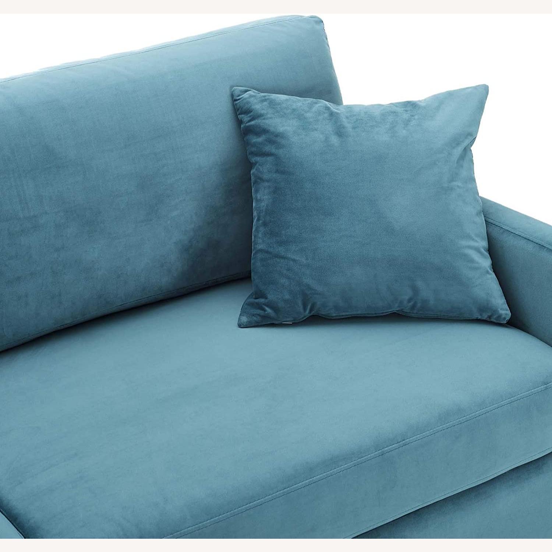 Mid-Century Style Sofa In Sea Blue Velvet Finish - image-5