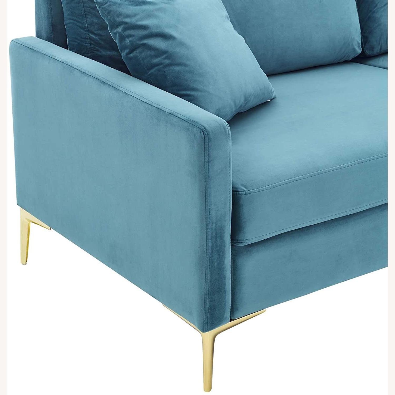 Mid-Century Style Sofa In Sea Blue Velvet Finish - image-4