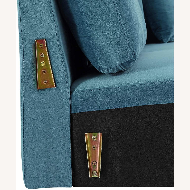 Mid-Century Style Sofa In Sea Blue Velvet Finish - image-6