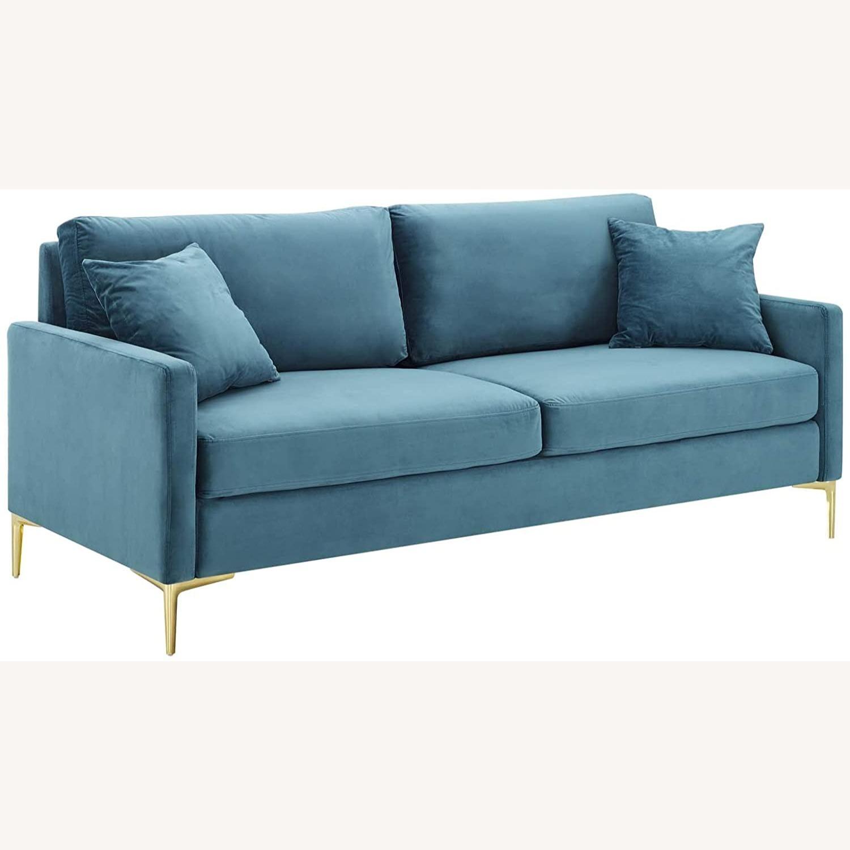 Mid-Century Style Sofa In Sea Blue Velvet Finish - image-0