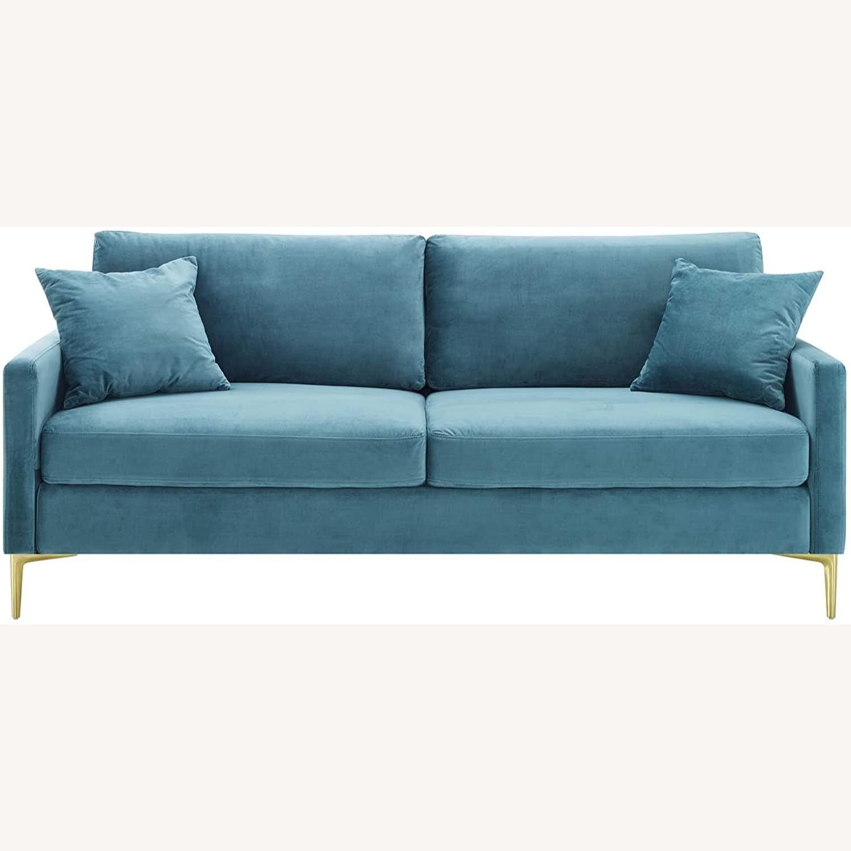 Mid-Century Style Sofa In Sea Blue Velvet Finish - image-1