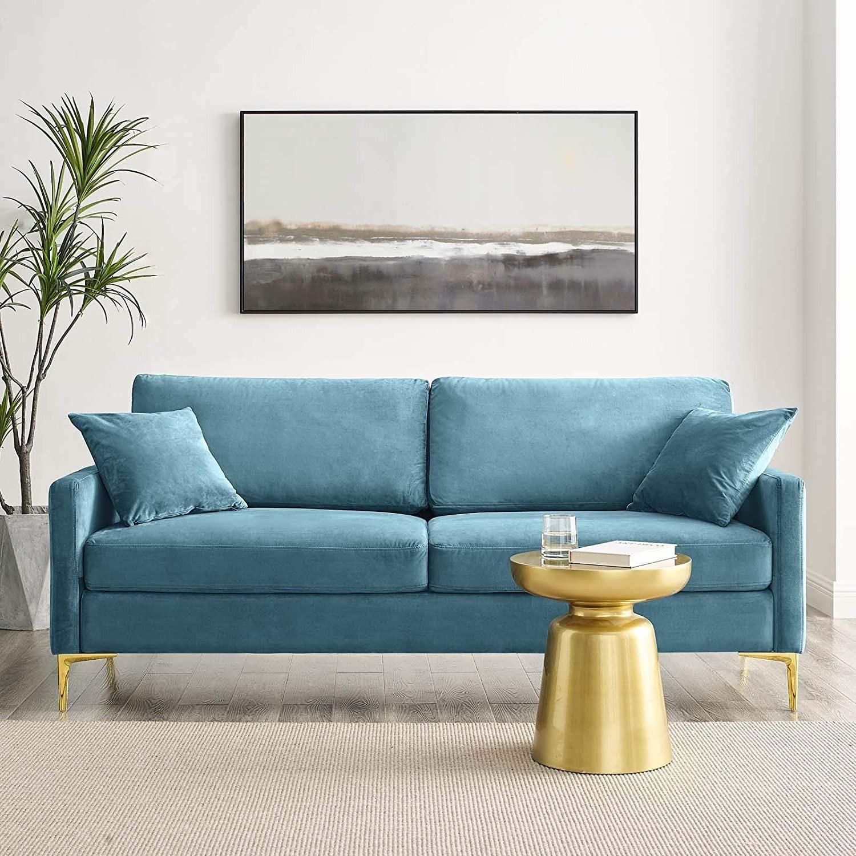 Mid-Century Style Sofa In Sea Blue Velvet Finish - image-7