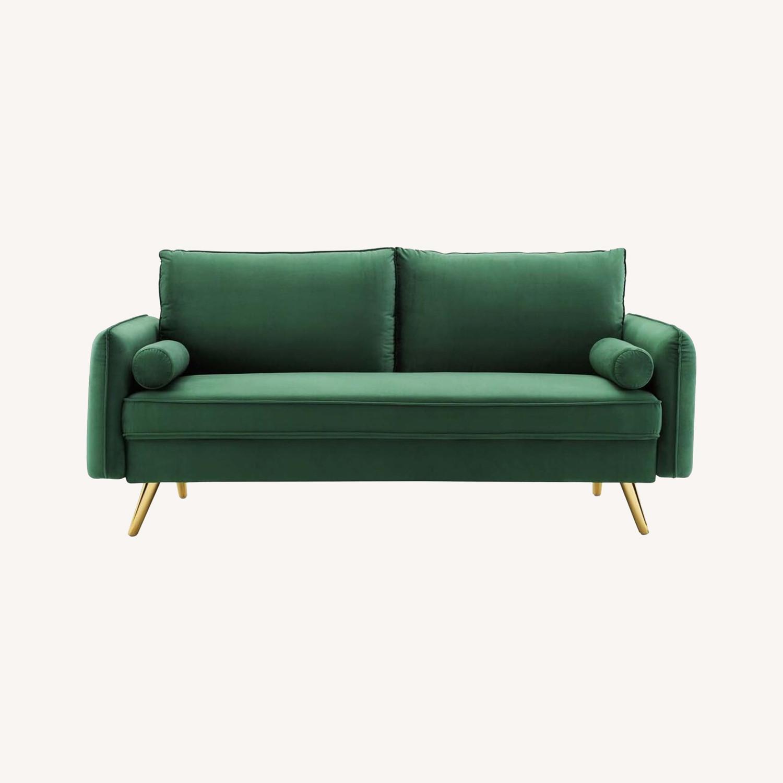 Modern Style Sofa In Emerald Velvet Upholstery - image-7