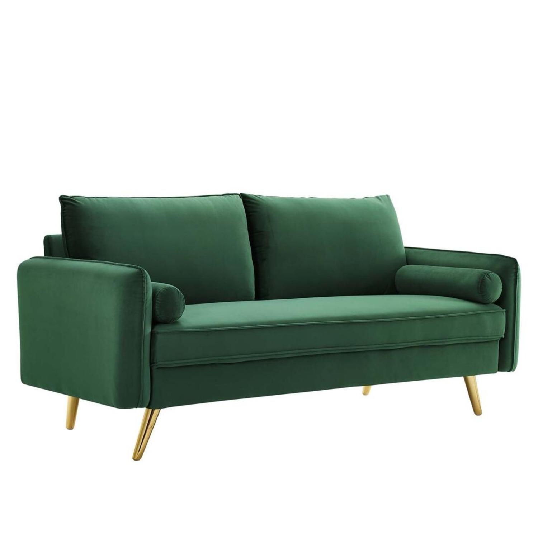 Modern Style Sofa In Emerald Velvet Upholstery - image-0